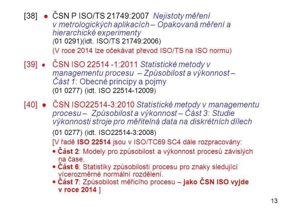 [38] ●. ČSN P ISO/TS 21749:2007 Nejistoty měření
